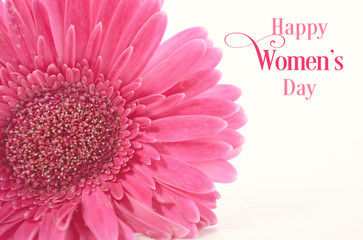 International Women's Day Pink Gerbera with symbolic purple ribbon on white wood table, with applied vintage wash filter and sample greeting text.