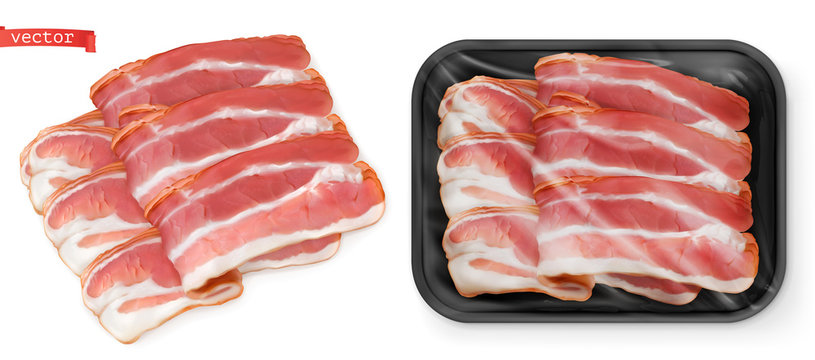 Bacon, meat in the package. Food 3d vector realistic