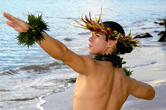 A handsome male hula dancer poses to the sun in a Hawaiian dance.