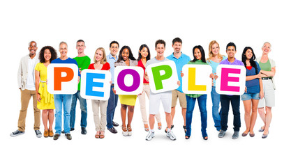 Multi-Ethnic Group Of People Holding Alphabet To Form People