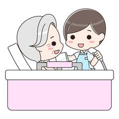 入浴介助 シニア男性と男性介護士