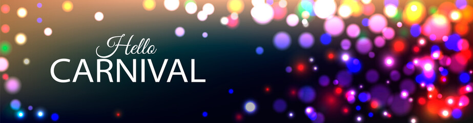 Hello Carnival banner with color lights background
