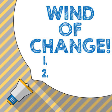 Text sign showing Wind Of Change. Conceptual photo Changing time growing up doing things in a different way