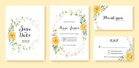 Wedding Invitation, save the date, thank you, rsvp card Design template. Vector. Yellow flower, silver dollar, olive leaves, Ivy plants.