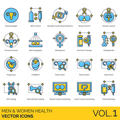 Men and women health icons including gynaecologist, birth control, sexually transmitted infections, breast cancer, ovarian, cervical, mammography, menopause, hormone therapy, osteoporosis, pregnancy.