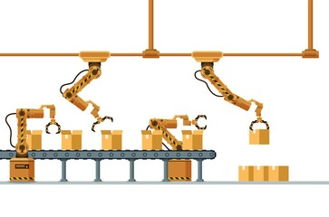 Brown Robotic Claw Automatic Packing Conveyor