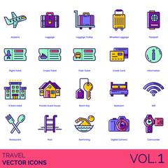 Travel icons including airplane, luggage, trolley, wheeled, passport, flight ticket, cruise, train, credit card, information, 5 stars hotel, private guest house, room key, bedroom, wifi, restaurant.