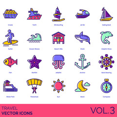 Travel icons including cruise, yacht, windsurfing, jet ski, sailing boat, surfer, ocean waves, beach villa, shark, dolphin show, fish, starfish, jellyfish, anchor, steering, water park, parachute, sun