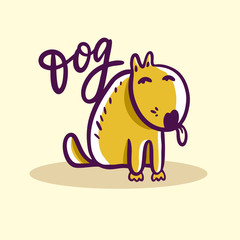 Dog hand drawn vector illustration. Cartoon style. Cute animal. Isolated on background.
