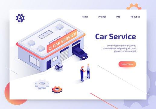 Car Repair Service Isometric Vector Landing Page