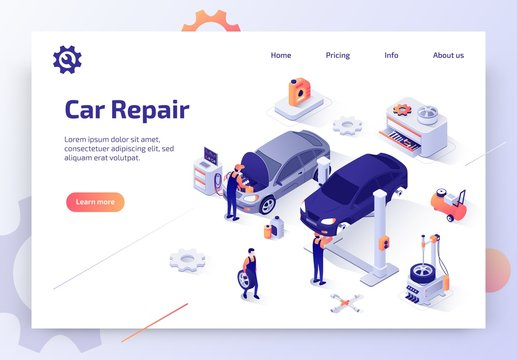 Modern Auto Workshop Isometric Vector Website