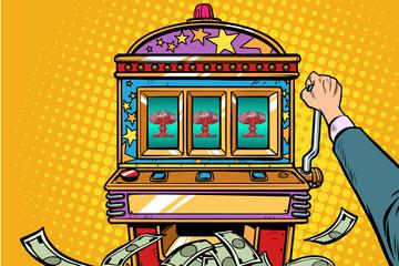 war games, aggressive politics concept. one-armed bandit slot machine