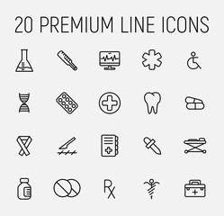 Simple set of medical related outline icons