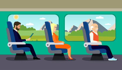Passenger old man, young beautiful girl and businessman character sitting in chair on the train . Vector flat style illustration.
