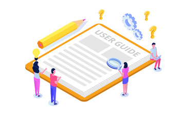 User manual  isometric concept. People with guide instruction are discussing about content of handbook. Vector illustration.