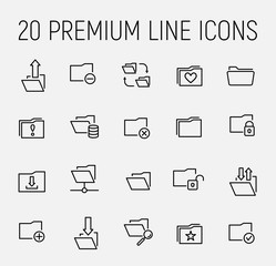 Set of folder icons in modern thin line style
