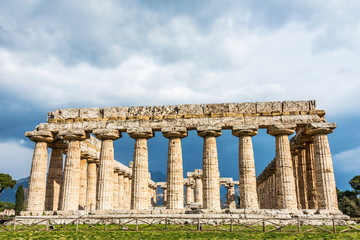 Ancient Greek Temple in the Ruins of a Village in Southern Italy