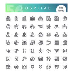 Set of 56 hospital, clinic builds, doctors and other medical line icons suitable for web, infographics and apps. Isolated on white background. Clipping paths included.