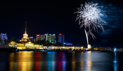 Fireworks at the port of Sochi, Russia