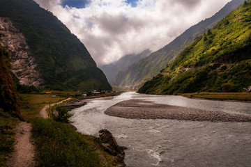 landscape with river mountain and clouds, the annapurna around, Napal
