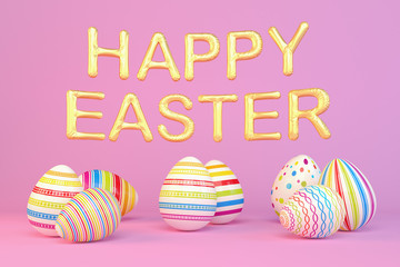 3d render - eight colorfu Easter eggs on pink background - balloons - happy easter