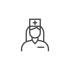 Nurse doctor with medical hat vector icon. filled flat sign for mobile concept and web design. Female doctor glyph icon. Symbol, logo illustration. Pixel perfect vector graphics
