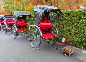 Fototapete - Jinrikisha or Japanese rickshaw for tourist sightseeing in Arashiyama, Kyoto in Japan