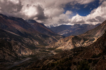landscape of mountians and sky in the annapurna around, Napal