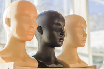 Close-up of a plastic woman mannequin heads on wooden rack.