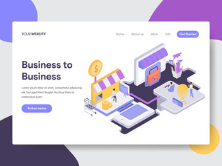 Landing page template of Business to Business Illustration Concept. Isometric flat design concept of web page design for website and mobile website.Vector illustration