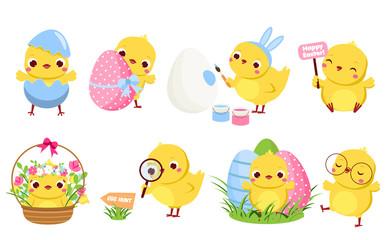 Cute Easter chickens set. Cartoon chicks in different poses with eggs and flowers having fun. Isolated characters and clip art for Easter design