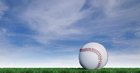 Baseball put on a well-cut lawn