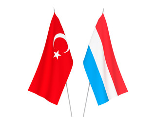 National fabric flags of Luxembourg and Turkey isolated on white background.  3d rendering illustration. 5ad1c6c11e9d