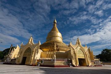"The Maha Wizaya Pagoda located on Shwedagon Pagoda Road in Dagon Township, Yangon, Myanmar. The pagoda, built in 1980 Known locally as ""Ne Win's Pagoda"""