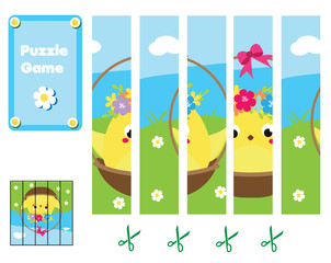 Puzzle for toddlers. Complete the picture with cute Easter chicken. Educational game for children