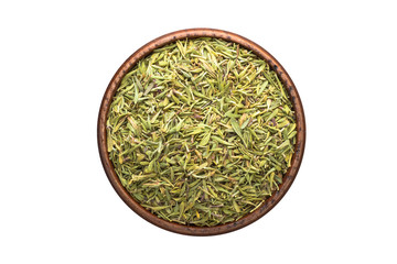 dried thyme spice in wooden bowl, isolated on white background. Seasoning top view
