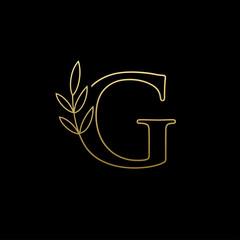 Golden Leaf G Letter Logo