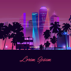 Modern metropolis elite real estate cartoon vector banner. Classic double-decker bus going on night highway with palm trees on roadside, illuminated skyscrapers buildings illustration in neon colors