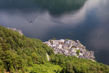 Aerial view of the beautiful city of Hallstatt in Austria on the lake in the mountains