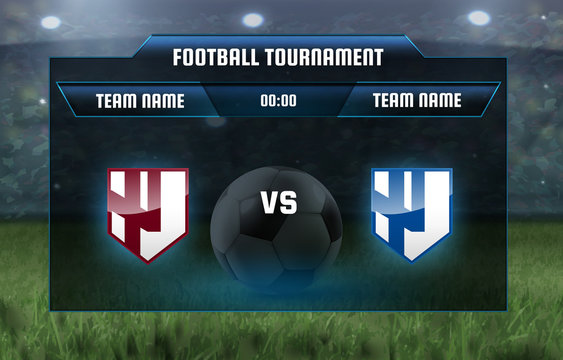 Vector illustration football scoreboard team A vs team B broadcast graphic soccer game score template for web, poster