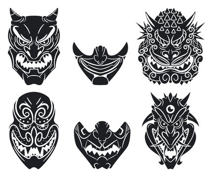 Oni and kabuki traditional japanese masks with demon face. Vector cartoon set isolated on a white background.