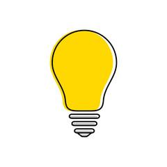 Yellow light bulb icon, idea and creativity symbol, modern thin line art