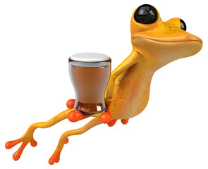 Fun yellow frog - 3D Illustration
