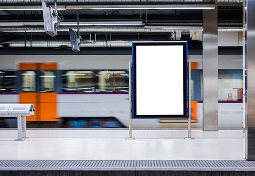 Mock up Board Banner Poster in Subway Train station Blur Train moving background