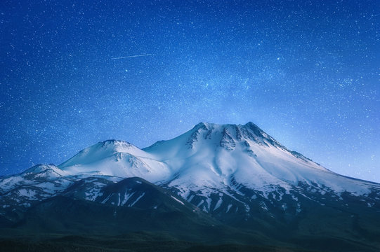 natural background with snow-covered volcano
