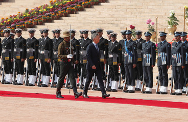 Argentina's President Mauricio Macri inspects an honour guard during his ceremonial reception at the forecourt of India's Rashtrapati Bhavan presidential palace in New Delhi