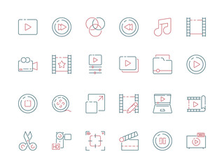Film edit icon. Animation movie production effect cut clapper multimedia vector colored symbols. Movie film, video multimedia illustration