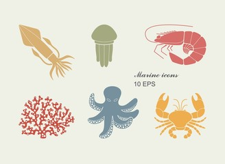 Collection of icons of sea inhabitants in flat style