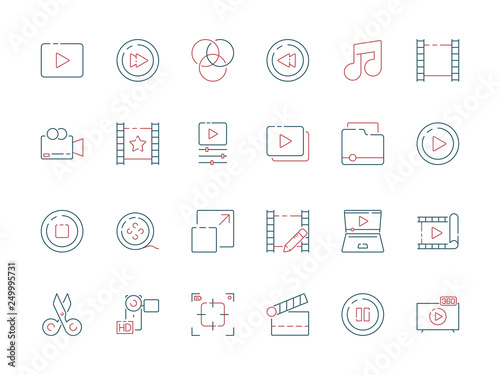 Film edit icon  Animation movie production effect cut clapper
