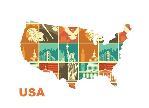 Map of the USA with traditional symbols. Stylized illustration